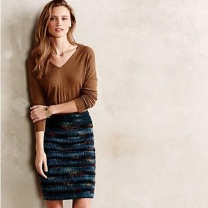 Anthropologie Maeve 6 Feathered Wool Pencil Skirt